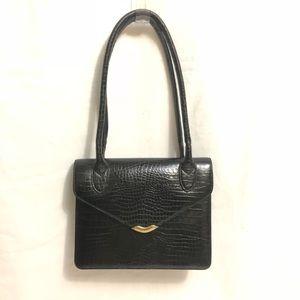 Nine West Black Embossed Crocodile Leather Bag